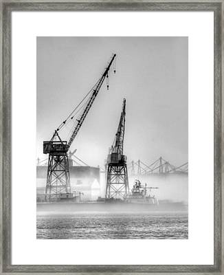Tug With Cranes Framed Print