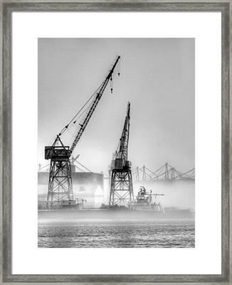 Tug With Cranes Framed Print