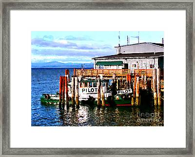 Tugboat At Rest Framed Print by Methune Hively