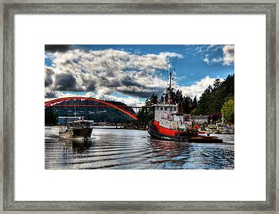 Tugboat At The Rainbow Bridge Framed Print by David Patterson