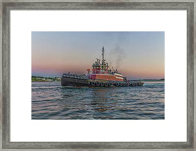 Tugboat Buckley Mcallister At Sunset Framed Print