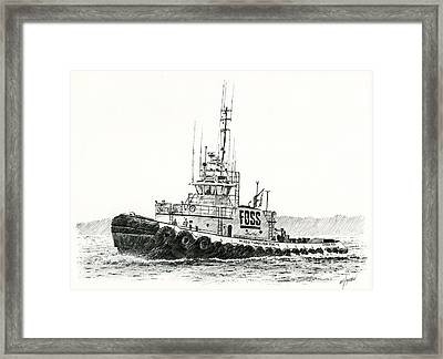 Tugboat Daniel Foss Heading Out Framed Print by James Williamson