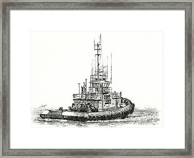 Tugboat Daniel Foss Framed Print by James Williamson