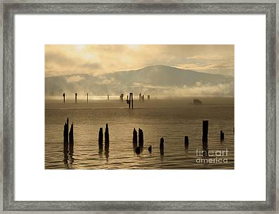 Tugboat In The Mist Framed Print
