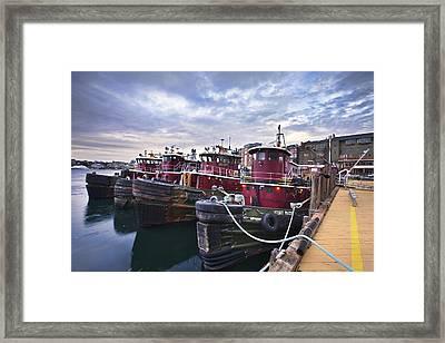 Tugboats At Dusk Framed Print by Eric Gendron