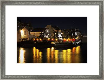 Tugboats At Night Framed Print by Eric Gendron