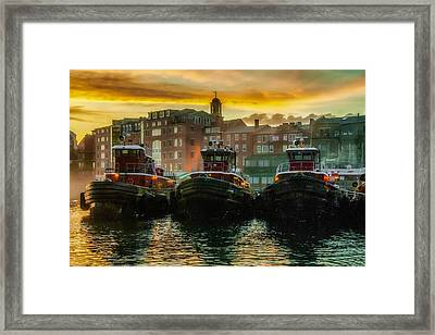 Tugboats In Portsmouth Harbor At Dawn Framed Print