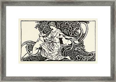 Tuiren With Bran And Sceolan From The Birth Of Bran Framed Print