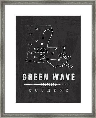 Tulane Green Wave Country Framed Print by Damon Gray