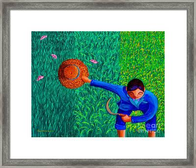 Tularan Ang Palay Framed Print by Paul Hilario