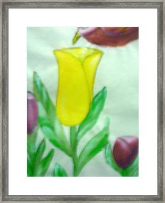 Tulip And Hummingbird Framed Print by BJ Abrams