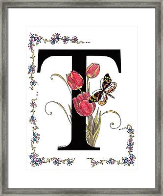 Tulip And Tiger Pierid Butterfly Framed Print by Stanza Widen