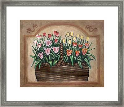 Tulip Basket Framed Print by Linda Mears