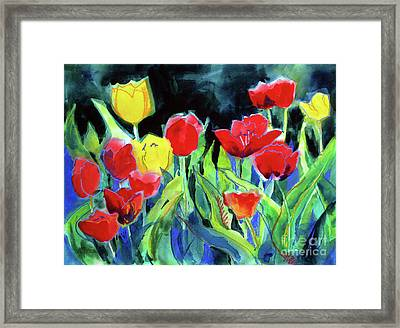 Framed Print featuring the painting Tulip Bed At Dark by Kathy Braud