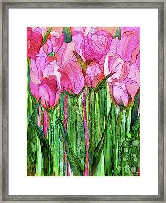 Framed Print featuring the mixed media Tulip Bloomies 1 - Pink by Carol Cavalaris