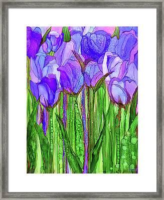 Framed Print featuring the mixed media Tulip Bloomies 1 - Purple by Carol Cavalaris