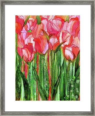 Framed Print featuring the mixed media Tulip Bloomies 1 - Red by Carol Cavalaris