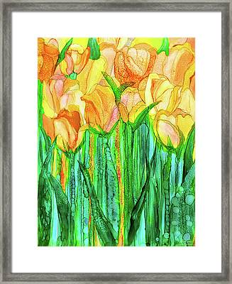 Framed Print featuring the mixed media Tulip Bloomies 1 - Yellow by Carol Cavalaris