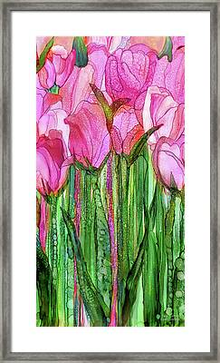 Framed Print featuring the mixed media Tulip Bloomies 2 - Pink by Carol Cavalaris