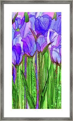 Framed Print featuring the mixed media Tulip Bloomies 2 - Purple by Carol Cavalaris