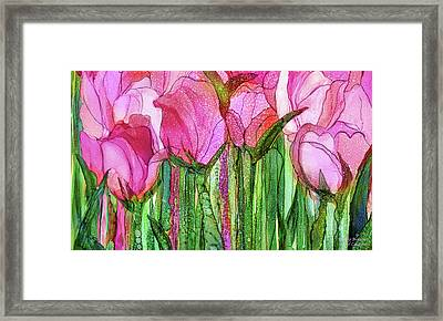 Framed Print featuring the mixed media Tulip Bloomies 3 - Pink by Carol Cavalaris