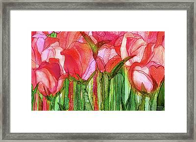 Framed Print featuring the mixed media Tulip Bloomies 3 - Red by Carol Cavalaris