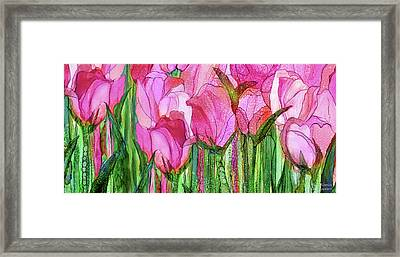 Framed Print featuring the mixed media Tulip Bloomies 4 - Pink by Carol Cavalaris