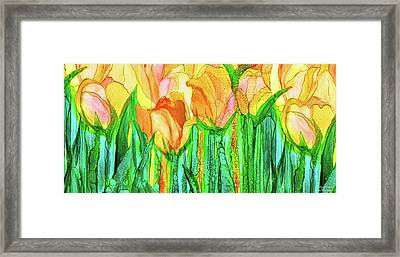 Framed Print featuring the mixed media Tulip Bloomies 4 - Yellow by Carol Cavalaris