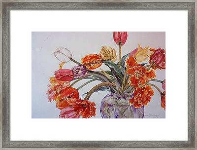 Tulip Bouquet - 12 Framed Print by Caron Sloan Zuger