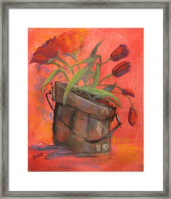 Tulip Bucket Framed Print by Terri Einer