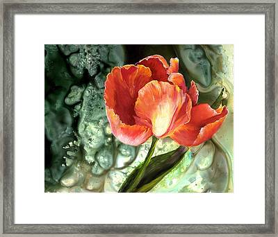 Framed Print featuring the painting Tulip Dance by Sherry Shipley