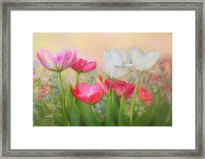 Framed Print featuring the painting Tulip Garden by Bonnie Willis