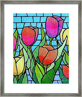 Framed Print featuring the painting Tulip Garden by Jim Harris