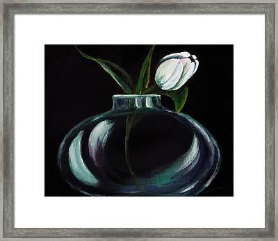 Tulip In A Vase Framed Print by Georgia Pistolis
