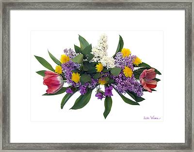 Framed Print featuring the digital art Tulip Lilac And Dandelion Bouquet by Lise Winne