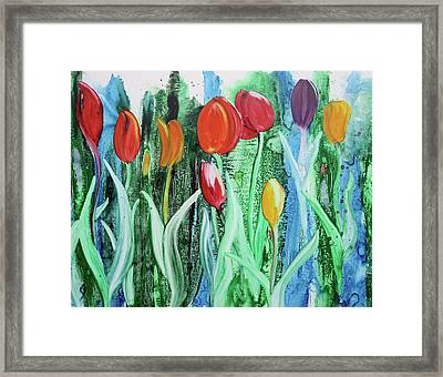 Framed Print featuring the painting Tulip Season by Nancy Jolley