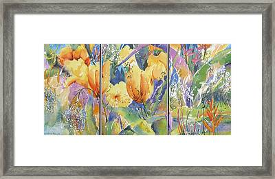 Tulip Triptych Framed Print