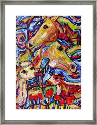Tulippy Cows And Horses Framed Print by Dianne  Connolly