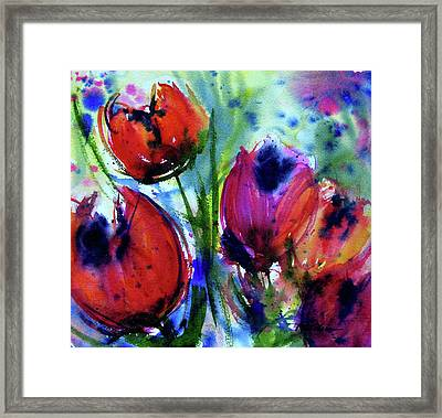 Framed Print featuring the painting Tulips 1 by Marti Green