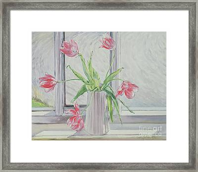Tulips Against Moving Water Framed Print by Timothy Easton