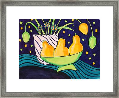 Tulips And 3 Yellow Pears Framed Print by Carrie Allbritton