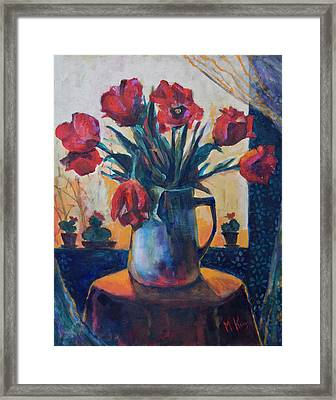 Tulips And Cacti Framed Print
