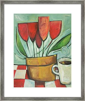 Tulips And Coffee Reprise Framed Print