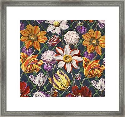 Tulips And Dahlias Framed Print by Harry Wearne