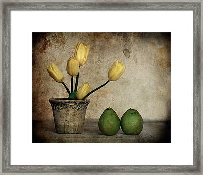 Tulips And Green Pears Framed Print by Levin Rodriguez