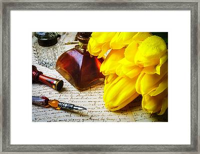Tulips And Ink Well Framed Print