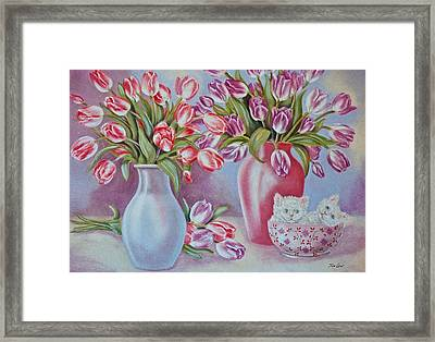 Tulips And Kittens Framed Print by Jan Law