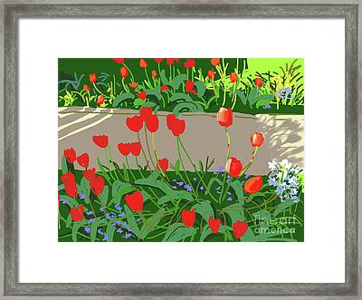 Tulips And Ladybirds Framed Print