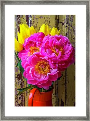Tulips And Peony's Framed Print by Garry Gay