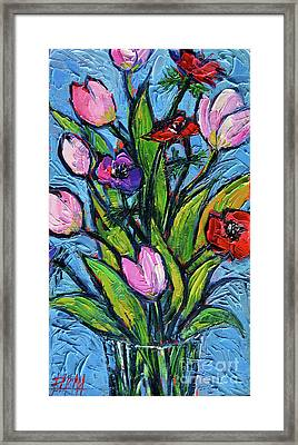 Tulips And Poppies - Impasto Palette Knife Oil Painting Framed Print by Mona Edulesco